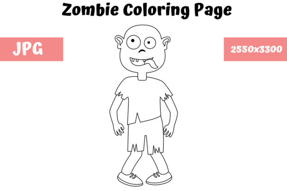 Print on Demand: Zombie - Coloring Page for Kids Graphic Coloring Pages & Books Kids By MyBeautifulFiles