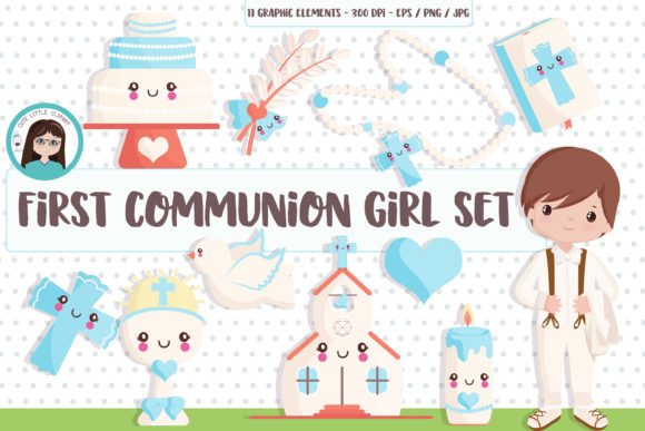 Download Free 1st Communion Boy Clipart Set Graphic By Cutelittleclipart for Cricut Explore, Silhouette and other cutting machines.