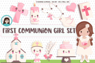 1st Communion Girl Clipart Graphic Illustrations By CuteLittleClipart