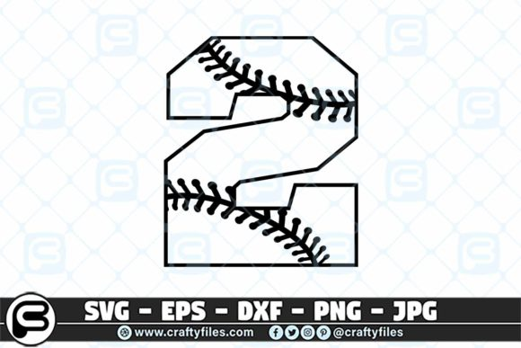 2 Base Ball Numbers Graphic Crafts By Crafty Files