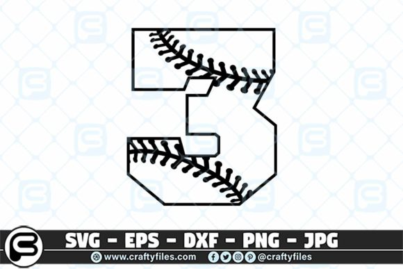 3 Base Ball Numbers Graphic Crafts By Crafty Files