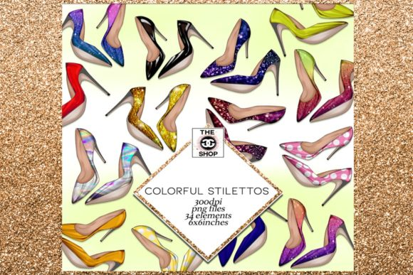 Print on Demand: 34 Shoes Stiletto Clipart Set Gráfico Ilustraciones Por TheGGShop