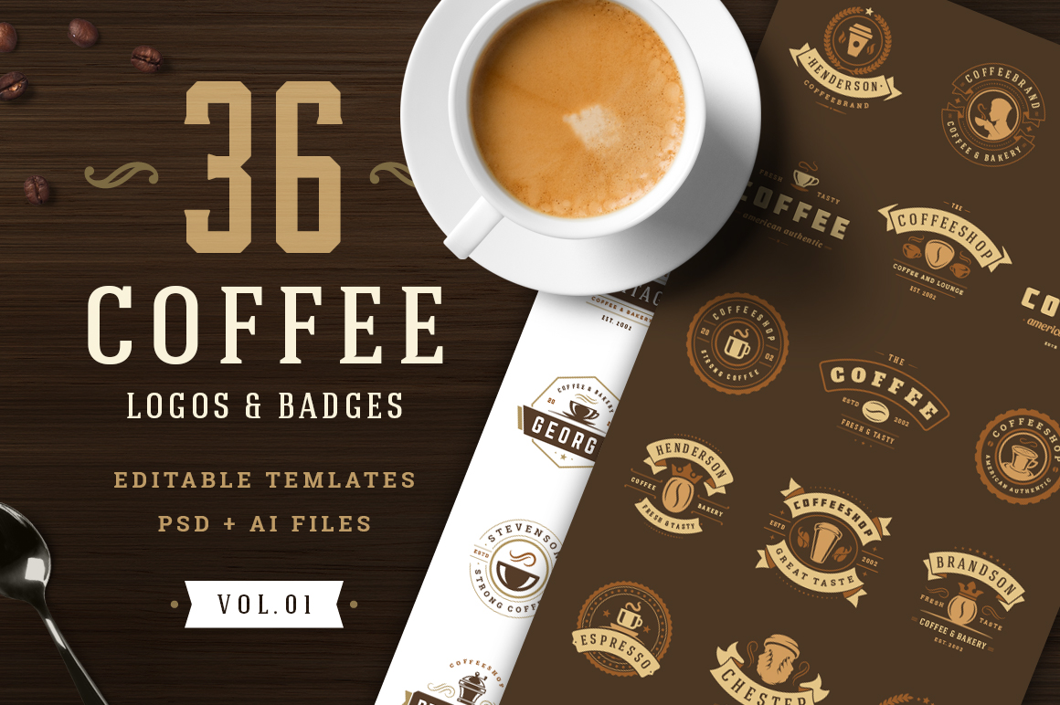 Download Free 36 Coffee Logos And Badges Graphic By Vasyako1984 Creative Fabrica for Cricut Explore, Silhouette and other cutting machines.