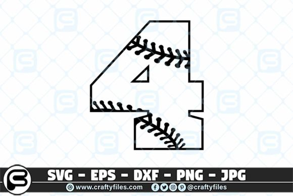 Download Free 4 Base Ball Numbers Graphic By Crafty Files Creative Fabrica for Cricut Explore, Silhouette and other cutting machines.