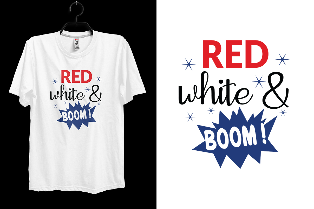 Download Free 4th July Red White Boom T Shirt Design Graphic By Storm Brain Creative Fabrica for Cricut Explore, Silhouette and other cutting machines.