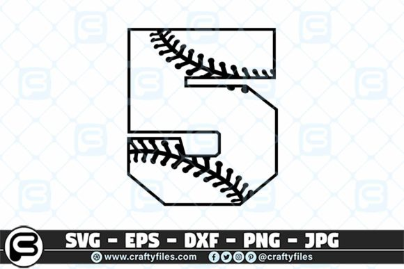 5 Base Ball Numbers Graphic Crafts By Crafty Files