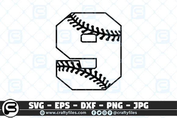 9 Base Ball Numbers Graphic Crafts By Crafty Files