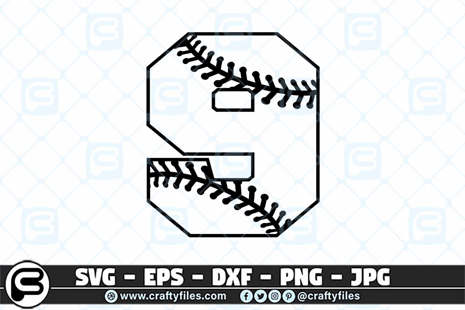 Download Free 9 Base Ball Numbers Graphic By Crafty Files Creative Fabrica for Cricut Explore, Silhouette and other cutting machines.