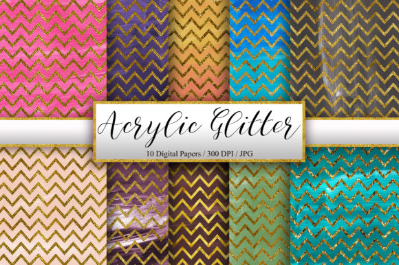 Acrylic Gold Glitter Chevron Background Graphic Backgrounds By PinkPearly