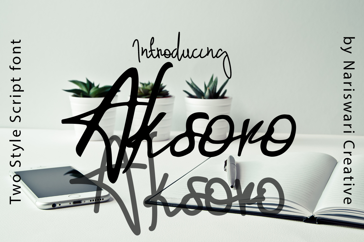 Download Free Aksoro Font By Nariswari Creative Creative Fabrica for Cricut Explore, Silhouette and other cutting machines.