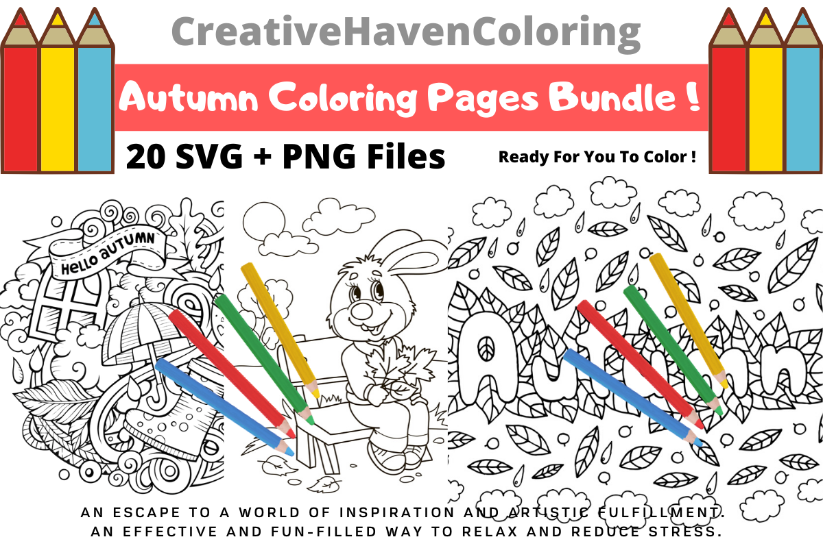 Download Free Autumn Coloring Pages Bundle Bundle Creative Fabrica for Cricut Explore, Silhouette and other cutting machines.