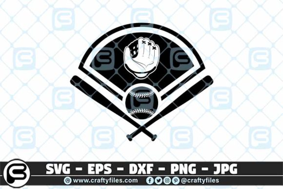 Download Free Baseball Bat Ball Glove Graphic By Crafty Files Creative Fabrica for Cricut Explore, Silhouette and other cutting machines.