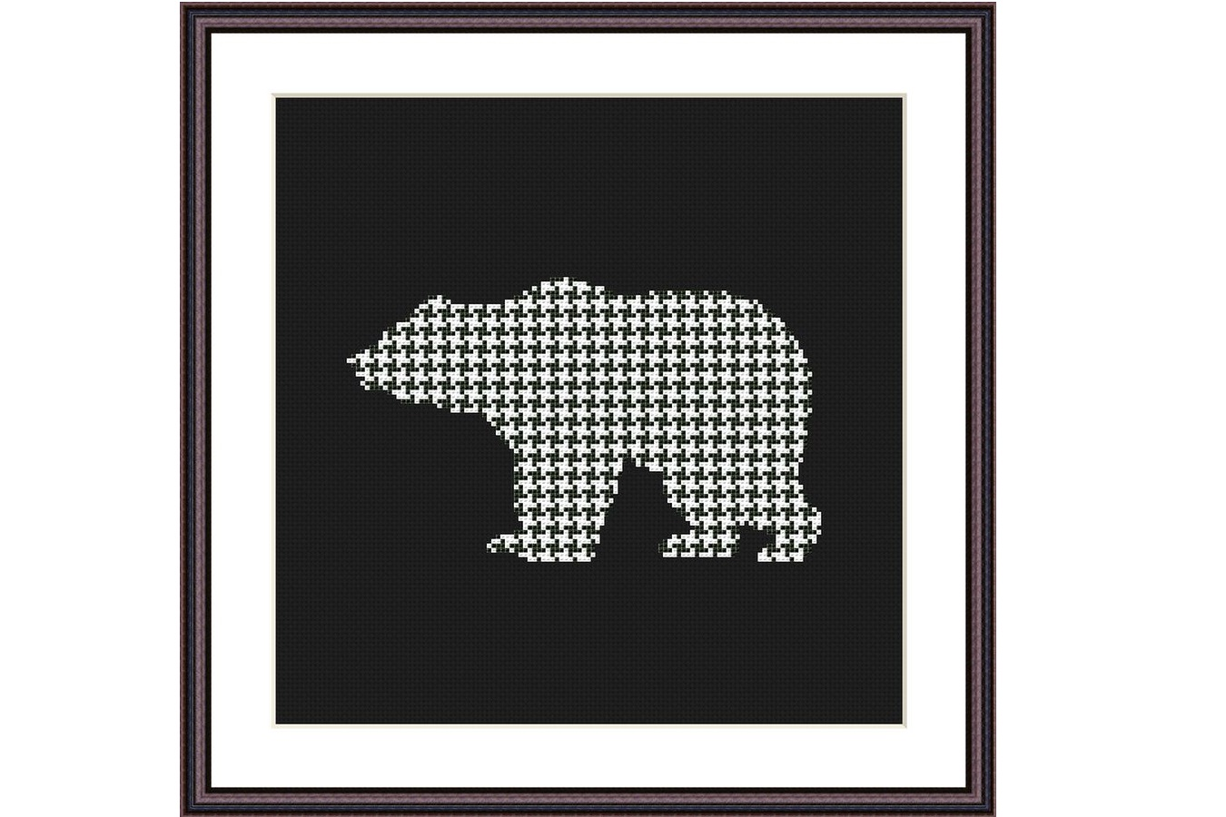 Black Bear-Color Counted Cross Stitch Pattern Chart Color Symbols Needlecraft Embroidery Chart  DMC Color Printable Pattern