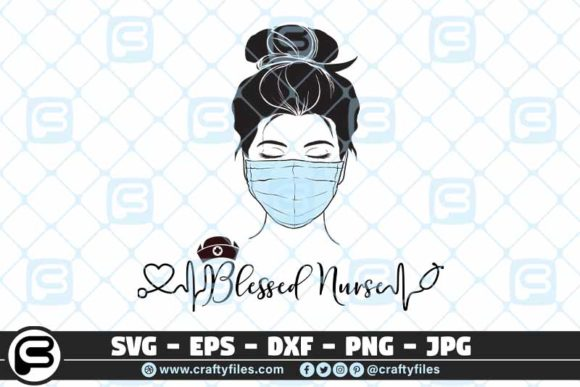 Blessed Nurse Head with Mask  Graphic Crafts By Crafty Files