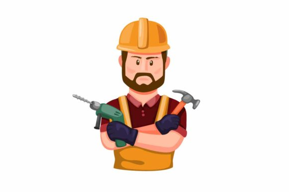 Print on Demand: Builder Holding Drill and Hammer Vector Graphic Illustrations By aryo.hadi