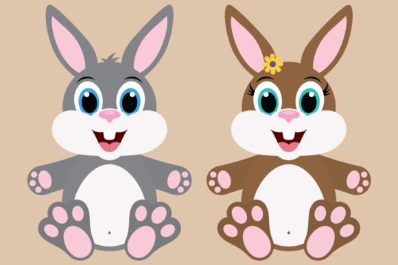 Download Free Bunny Rabbit Bundle With Easter Eggs Graphic By Captaincreative for Cricut Explore, Silhouette and other cutting machines.