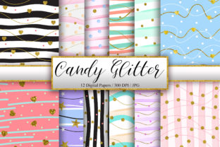 Print on Demand: Candy Gold Glitter Background Graphic Backgrounds By PinkPearly
