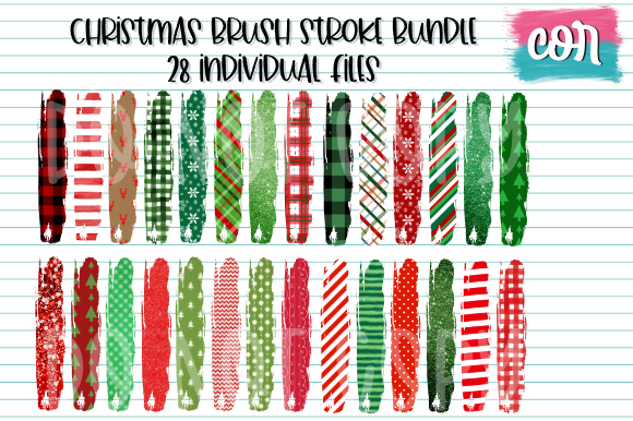 Print on Demand: Christmas Brush Stroke Bundle Graphic Crafts By designscor