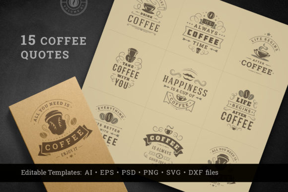 Download Free Coffee Quotes And Phrases Set Graphic By Vasyako1984 Creative for Cricut Explore, Silhouette and other cutting machines.