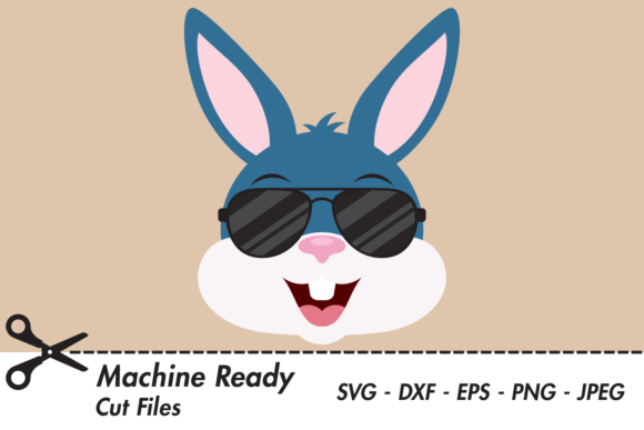 Download Free Cool Boy Bunny Rabbit Face With Shades Graphic By for Cricut Explore, Silhouette and other cutting machines.