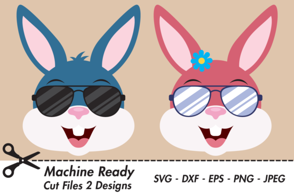Download Free Cool Bunny Rabbit Faces With Shades Graphic By Captaincreative for Cricut Explore, Silhouette and other cutting machines.