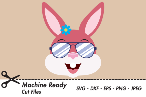 Download Free Cool Girl Bunny Rabbit Face With Shades Graphic By for Cricut Explore, Silhouette and other cutting machines.
