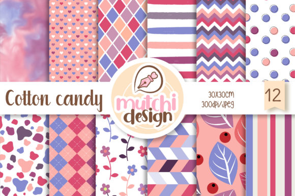 Print on Demand: Cotton Candy Digital Papers Graphic Backgrounds By Mutchi Design