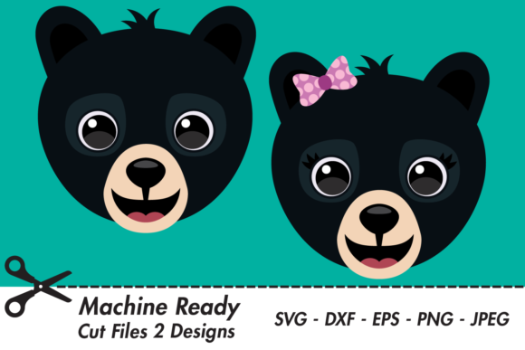 Download Free Cute Black Bear Faces Graphic By Captaincreative Creative Fabrica for Cricut Explore, Silhouette and other cutting machines.