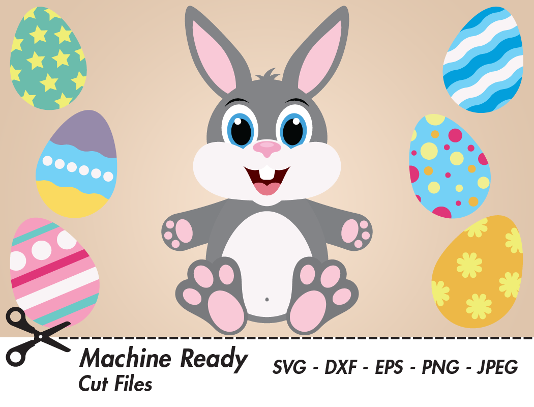 Download Free Cute Boy Bunny Rabbit With Easter Eggs Graphic By Captaincreative Creative Fabrica for Cricut Explore, Silhouette and other cutting machines.