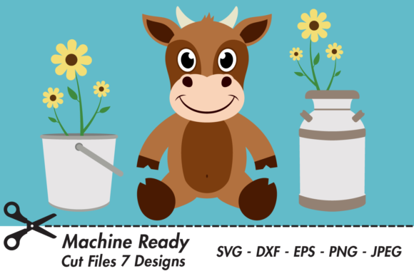 Download Free Cute Boy Cow With Flowers Graphic By Captaincreative Creative for Cricut Explore, Silhouette and other cutting machines.