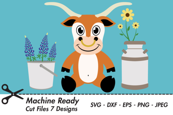 Download Free Cute Boy Longhorn With Flowers Graphic By Captaincreative for Cricut Explore, Silhouette and other cutting machines.