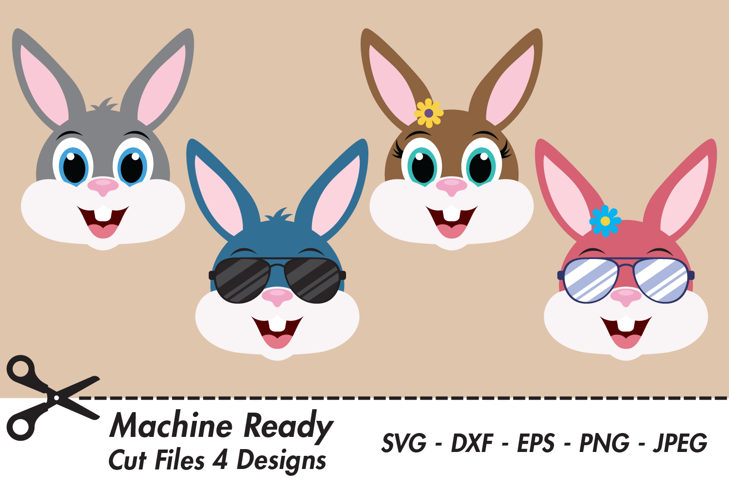 Download Free Cute Bunny Rabbit Face Bundle Graphic By Captaincreative for Cricut Explore, Silhouette and other cutting machines.