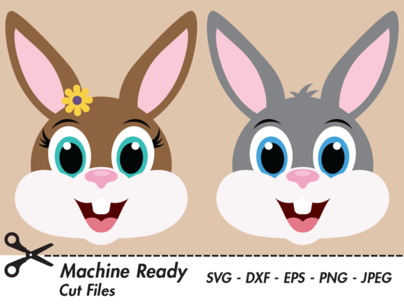 Download Free Cute Bunny Rabbit Faces Graphic By Captaincreative Creative for Cricut Explore, Silhouette and other cutting machines.