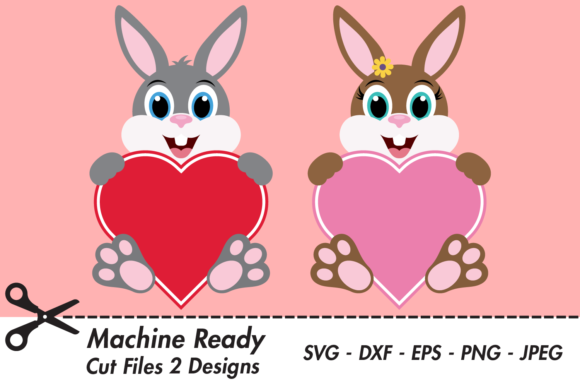 Print on Demand: Cute Bunny Rabbit Valentine Hearts Graphic Crafts By CaptainCreative