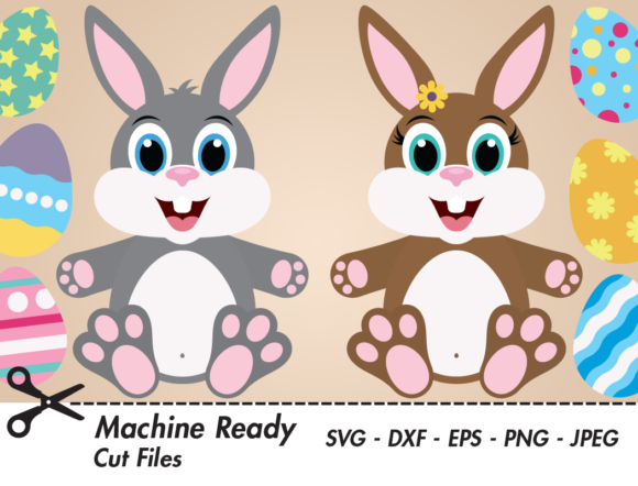 Print on Demand: Cute Bunny Rabbits with Easter Eggs Gráfico Crafts Por CaptainCreative