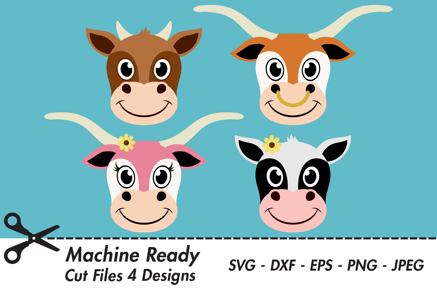 Download Free Cute Cattle Face Bundle Graphic By Captaincreative Creative for Cricut Explore, Silhouette and other cutting machines.