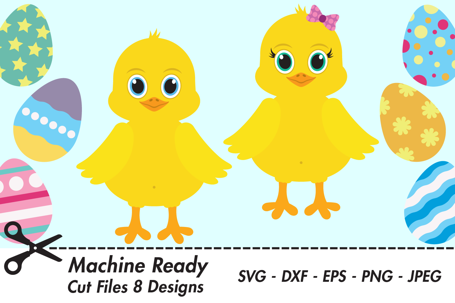 Download Free Cute Chicks With Easter Eggs Graphic By Captaincreative for Cricut Explore, Silhouette and other cutting machines.