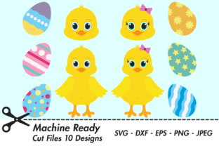 Print on Demand: Cute Chicks with Easter Eggs Graphic Crafts By CaptainCreative