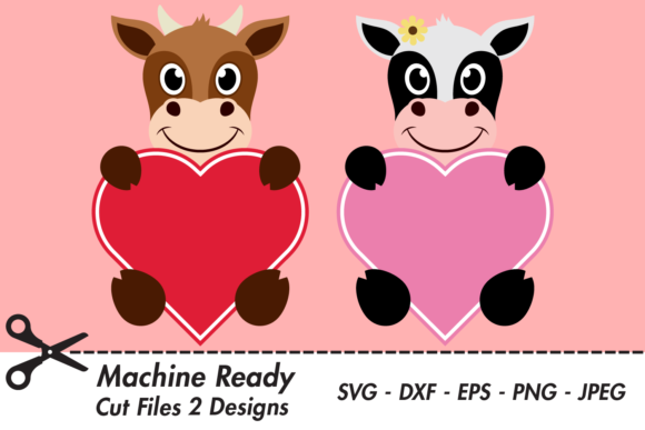 Download Free Cute Cow Valentine Hearts Graphic By Captaincreative Creative for Cricut Explore, Silhouette and other cutting machines.
