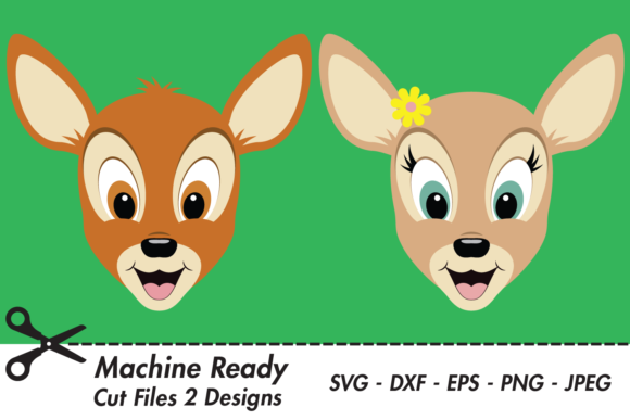 Download Free Cute Deer Faces Graphic By Captaincreative Creative Fabrica for Cricut Explore, Silhouette and other cutting machines.