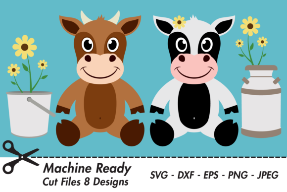 Download Free Cute Farmhouse Cows With Flowers Graphic By Captaincreative for Cricut Explore, Silhouette and other cutting machines.