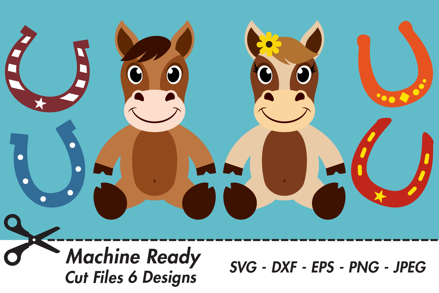 Download Free Cute Farmhouse Horses With Horseshoes Graphic By Captaincreative for Cricut Explore, Silhouette and other cutting machines.