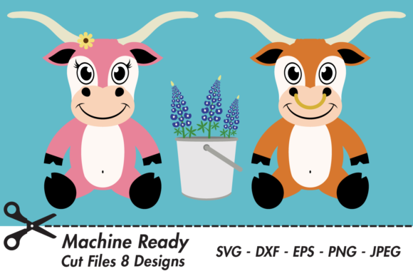 Download Free Cute Farmhouse Longhorns With Flowers Graphic By Captaincreative for Cricut Explore, Silhouette and other cutting machines.