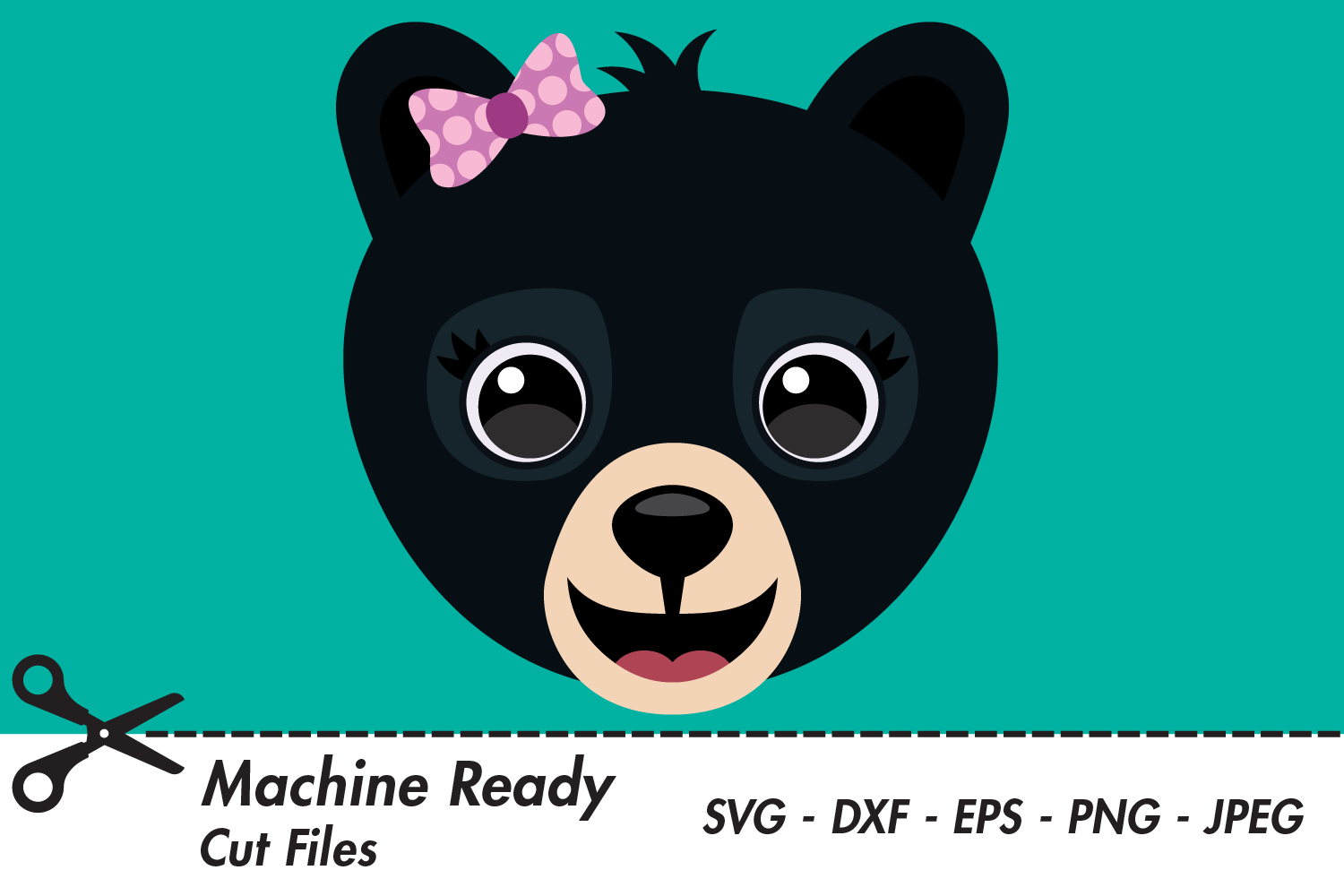 Download Free Cute Girl Black Bear Face Graphic By Captaincreative Creative for Cricut Explore, Silhouette and other cutting machines.