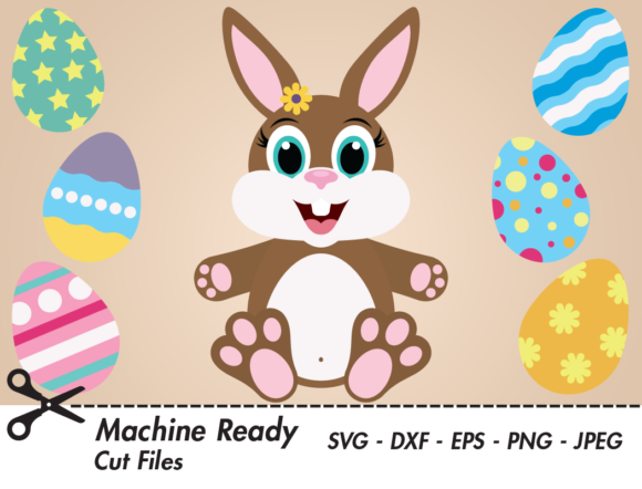 Print on Demand: Cute Girl Bunny Rabbit with Easter Eggs Graphic Crafts By CaptainCreative