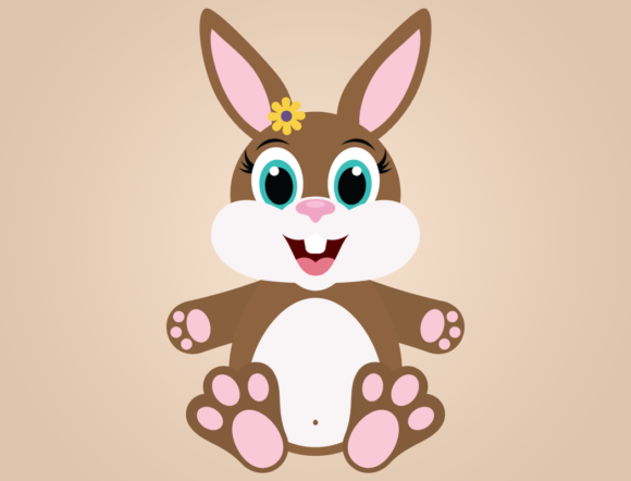 Download Free Cute Girl Bunny Rabbit With Easter Eggs Graphic By for Cricut Explore, Silhouette and other cutting machines.