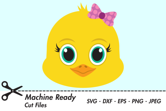 Download Free Cute Girl Chick Face Graphic By Captaincreative Creative Fabrica for Cricut Explore, Silhouette and other cutting machines.