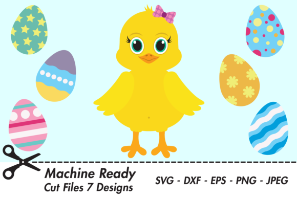 Download Free Cute Girl Chick With Easter Eggs Graphic By Captaincreative for Cricut Explore, Silhouette and other cutting machines.
