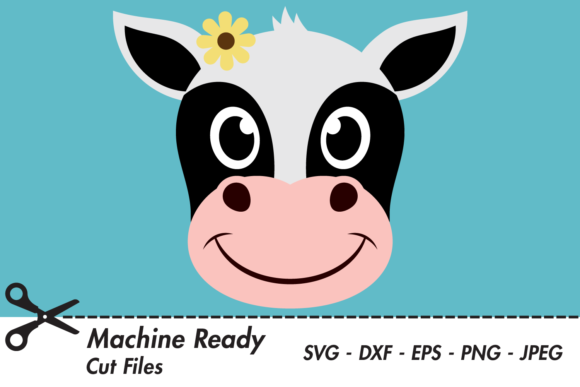 Download Free Cute Girl Cow Face Graphic By Captaincreative Creative Fabrica for Cricut Explore, Silhouette and other cutting machines.
