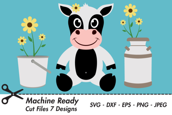 Download Free Cute Girl Cow With Flowers Graphic By Captaincreative Creative for Cricut Explore, Silhouette and other cutting machines.